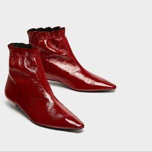 ZARA red leather heeled ankle boots. NWT